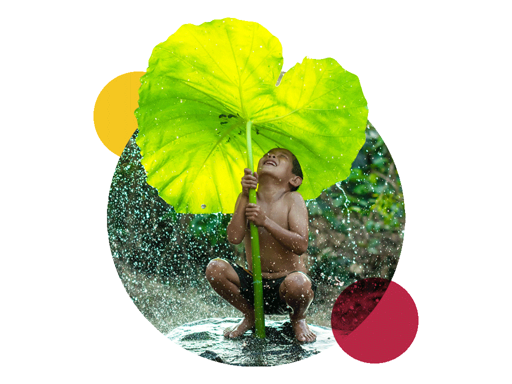 carbon neutral sign language services symbolized by a boy holding a big leaf in the rain