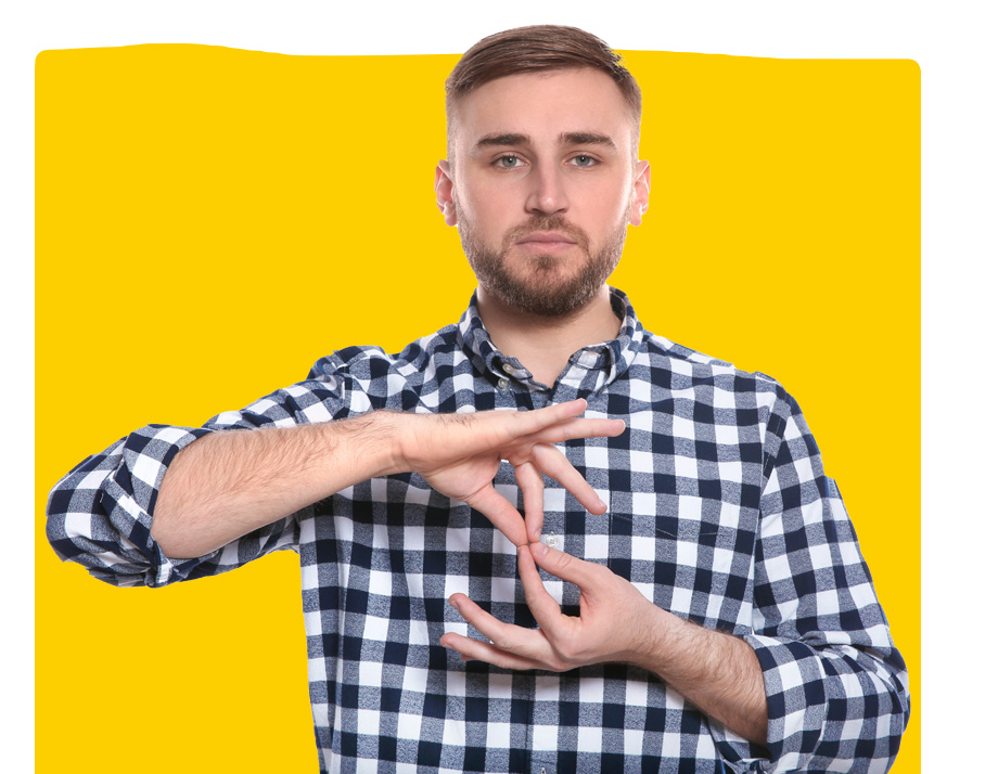 sign language expert interpreter showing word INTERPRETER in sign language on yellow background